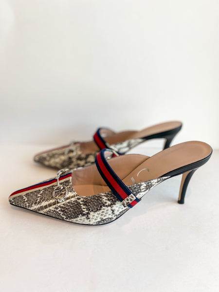 Gucci Snakeskin Heels Side of Shoes