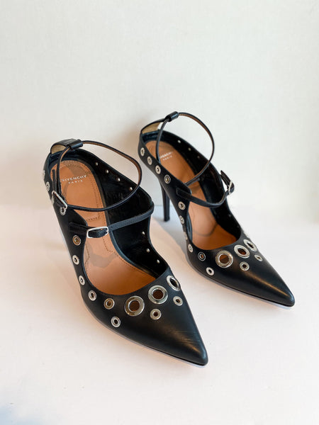 Givenchy Mary Jane Heels Black Leather Silver Circle Cutouts