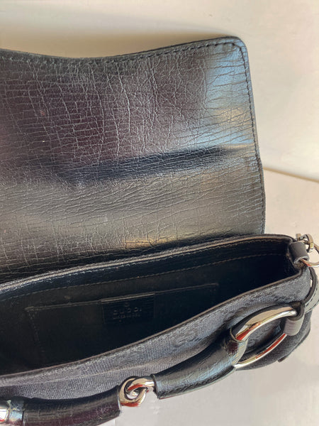 Gucci GG Horsebit Bag Black Inside of Bag
