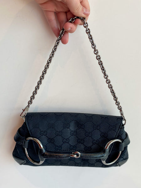 Gucci GG Horsebit Bag Black Front of Bag