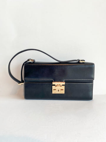 Gucci Leather Shoulder Bag Black Front of Bag