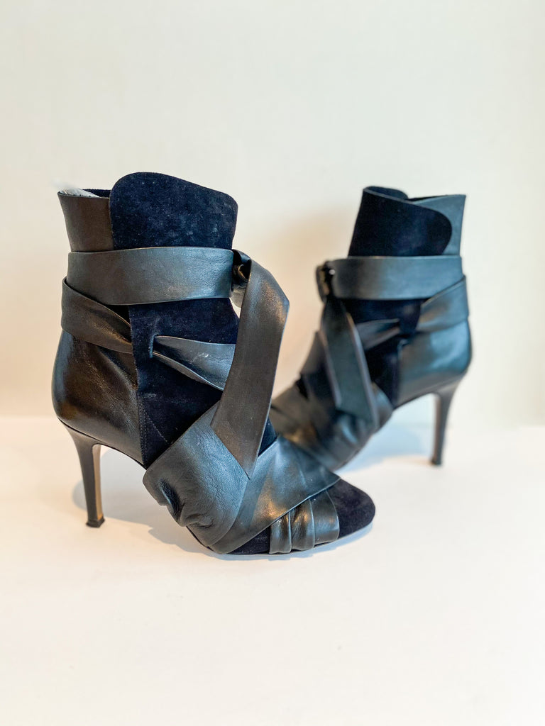 Isabel Marant Leather and Suede Ankle Boots Heels Black