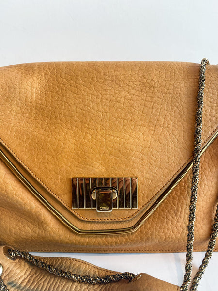 Chloe Sally Bag Flap Handbag Tan Leather Front