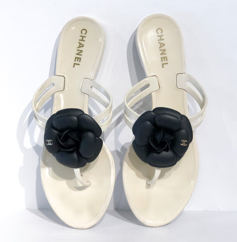 Chanel White Flower Flip Flops