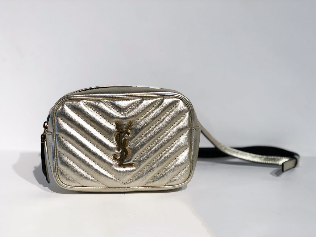 Saint Laurent Metallic Matelasse Belt Bag Silver Front of Bag