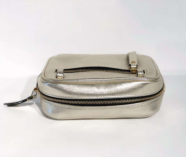 Saint Laurent Metallic Matelasse Belt Bag Silver Back of Bag Back Zipper Pocket