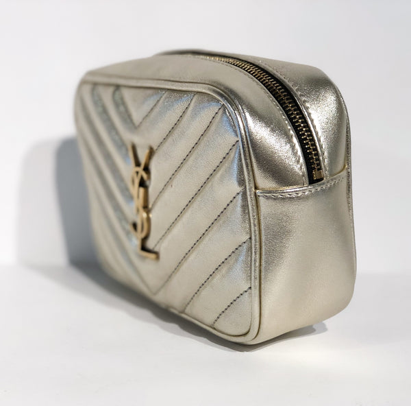 Saint Laurent Metallic Matelasse Belt Bag Silver Side of Bag