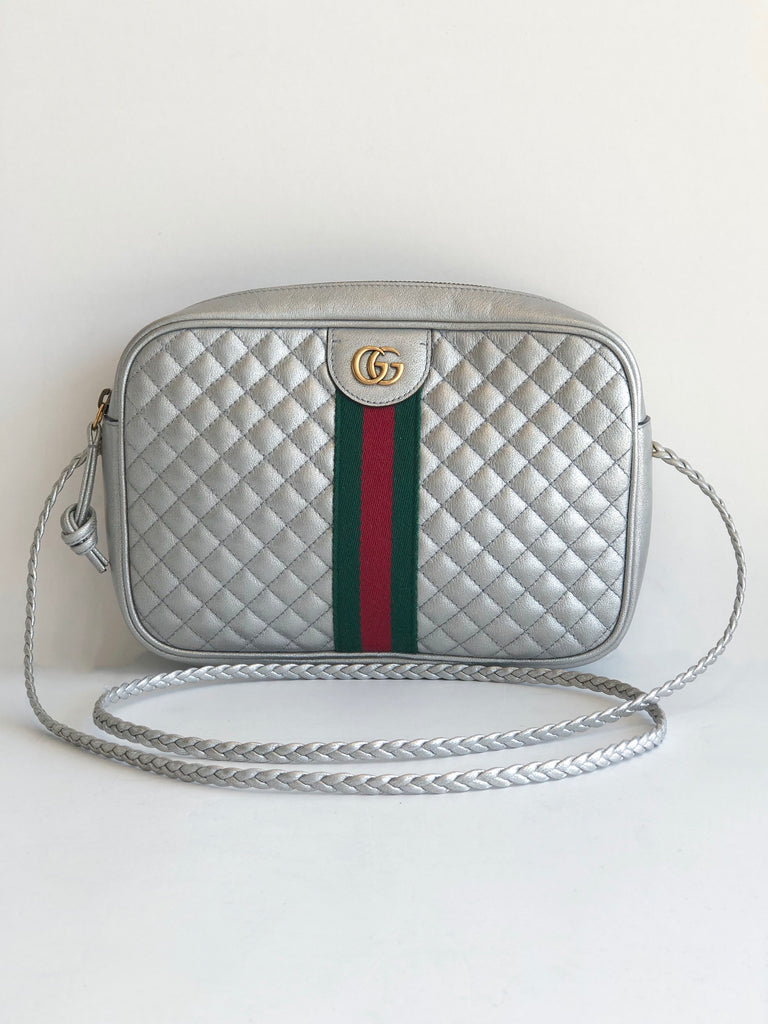 Gucci Small Quilted Ophidia Camera Crossbody Bag Silver