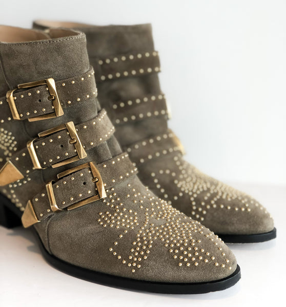 SOLD Chloe Taupe Stud Booties