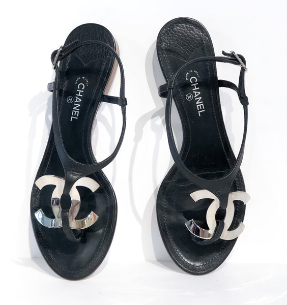 Chanel Black Leather Sandals