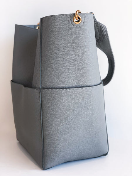 Celine Sangle Bucket Bag Gray Side of Bag