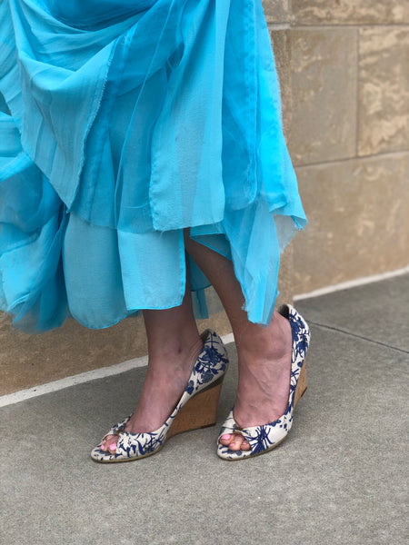 Gucci Floral Wedges Blue and White on Model