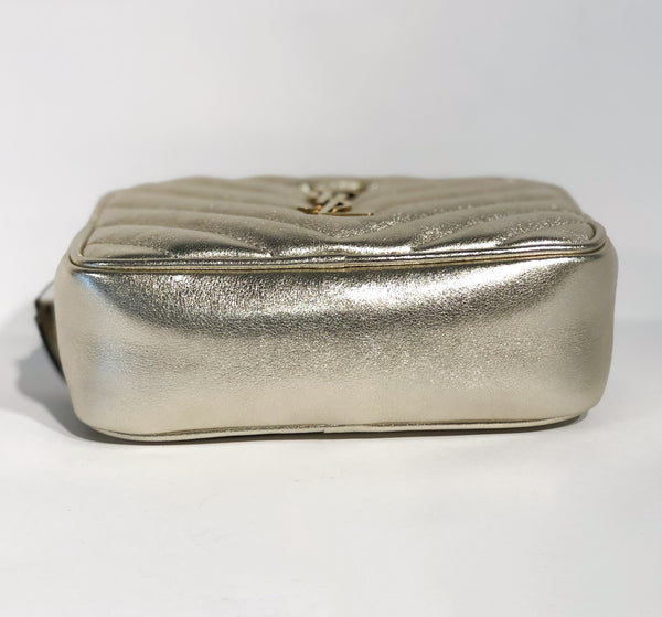 Saint Laurent Metallic Matelasse Belt Bag Silver Bottom of Bag