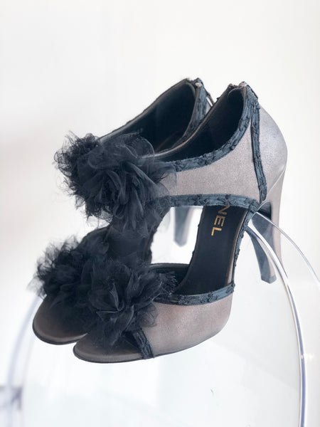 Chanel Grey Heels with Pom Pom Detail