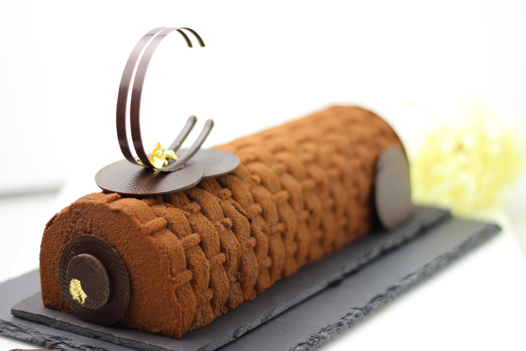 Chocolate Nougat Mousse Log Cake