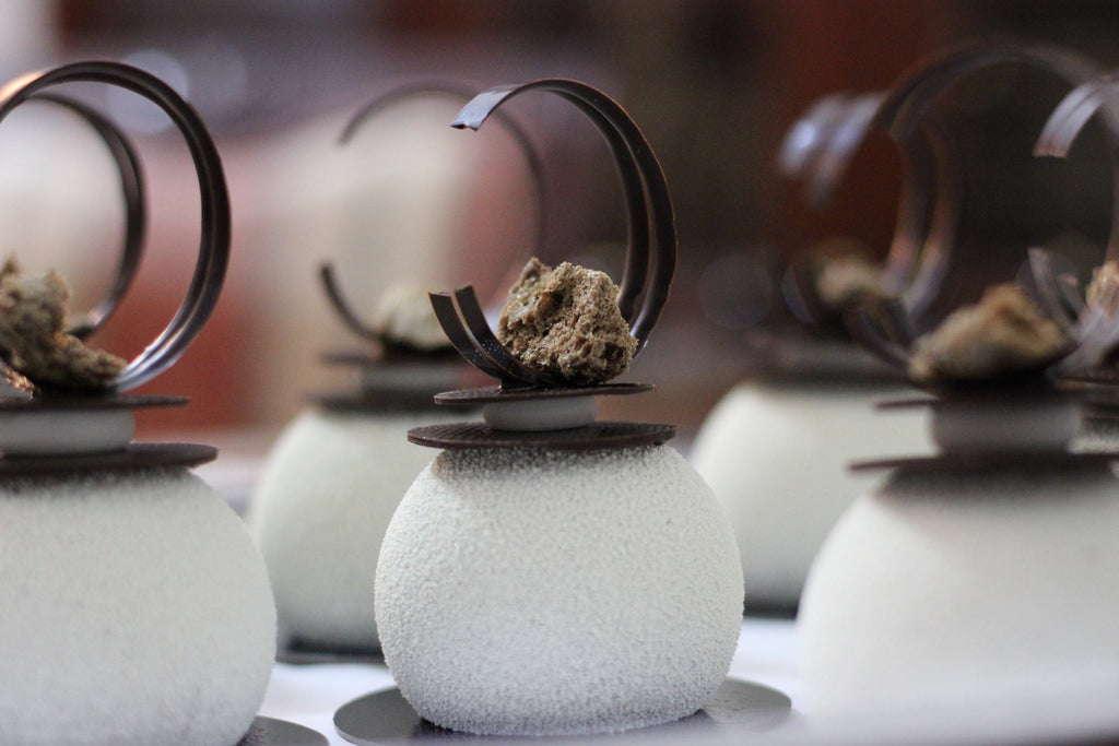 White Chocolate Topped Mousse Ball Dessert