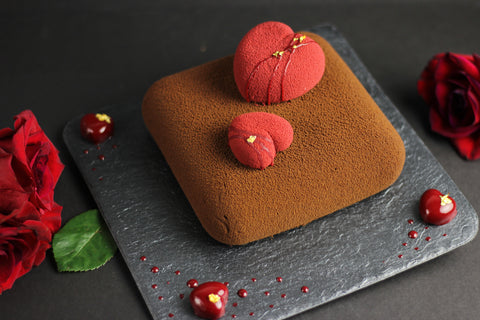 Square Plated Heart Cake