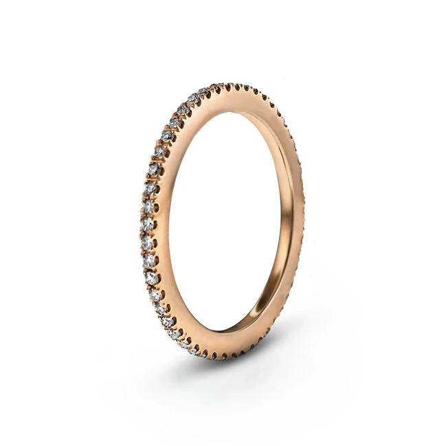 CUT CLAW FULL BAND DIAMOND RING in 18K ROSE GOLD