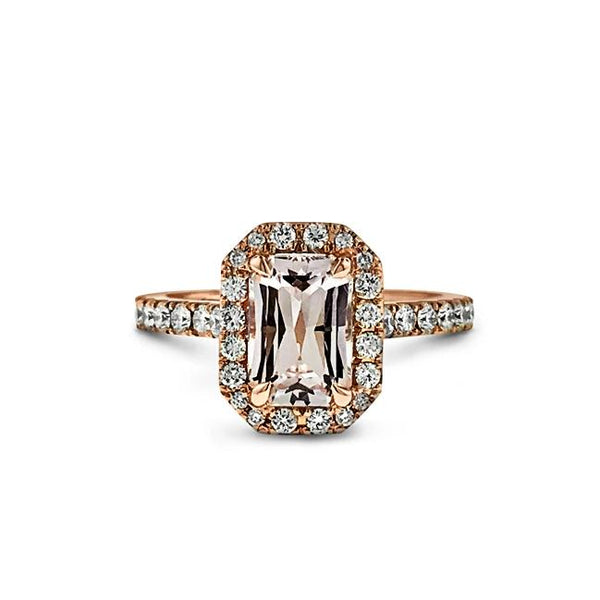 Peach Sapphire and diamond ring in 18k rose gold