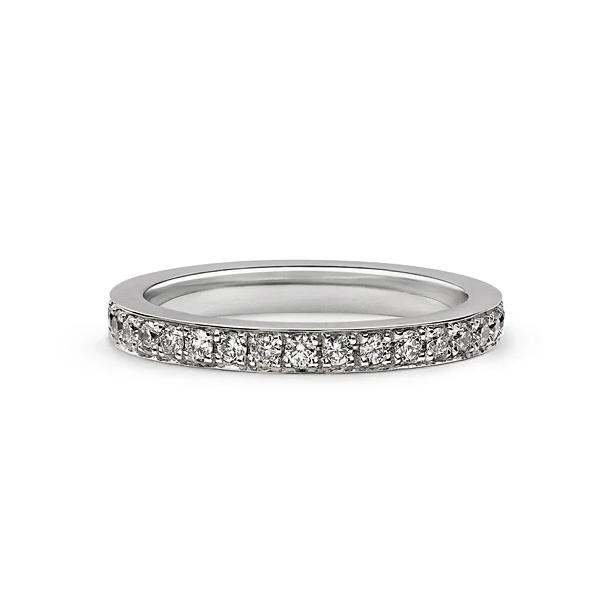 PAVE HALF BAND IN 18K WHITE GOLD 2.40MM