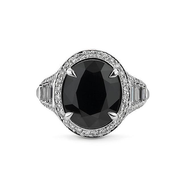 Black spinel and diamond ring in 18k white gold
