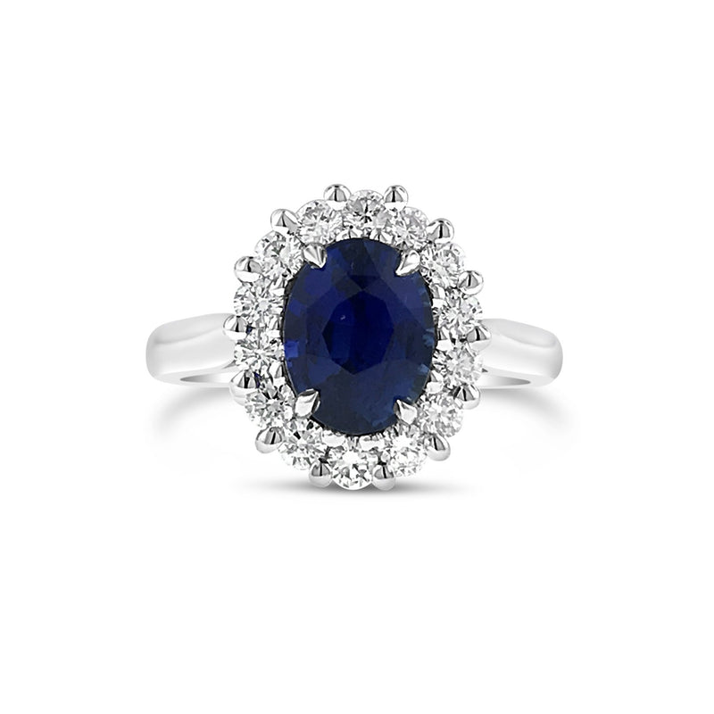 Ceylon sapphire and diamond ring in 18k white gold