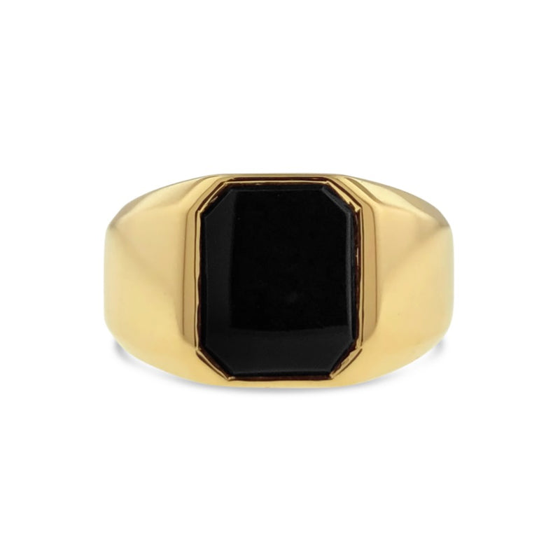 Black onyx signet ring in 18k yellow gold