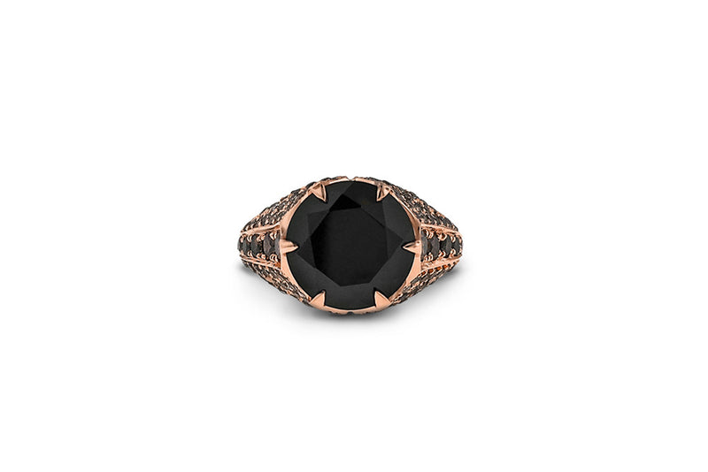 Black spinel and cognac diamond ring in 18k rose gold