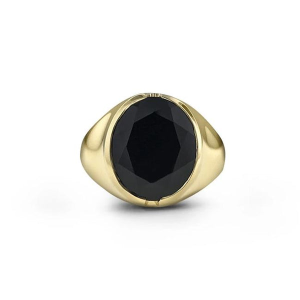 Black Spinel ring in 18k yellow gold