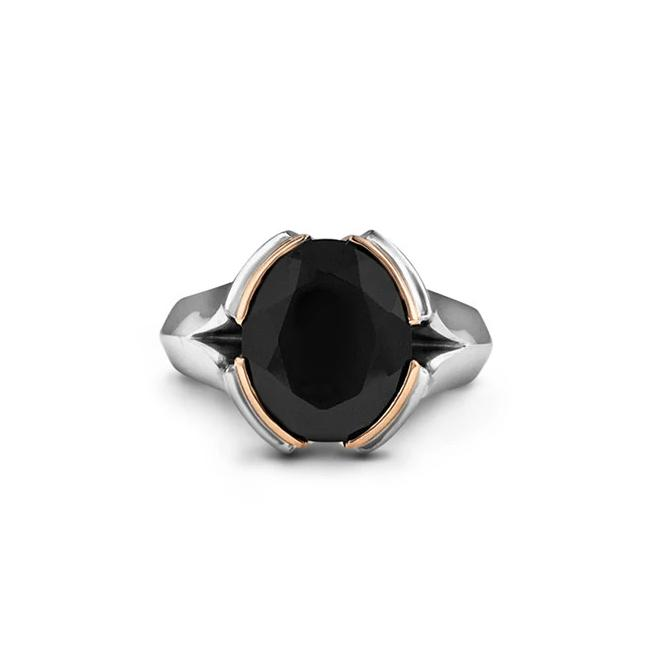 Black spinel ring in 18k white and rose gold