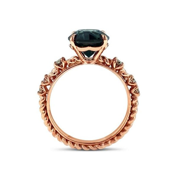Sapphire and cognac diamond twisted ring in 18k rose gold