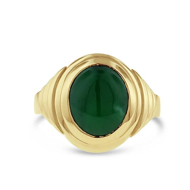 Jade ring in 18k yellow gold