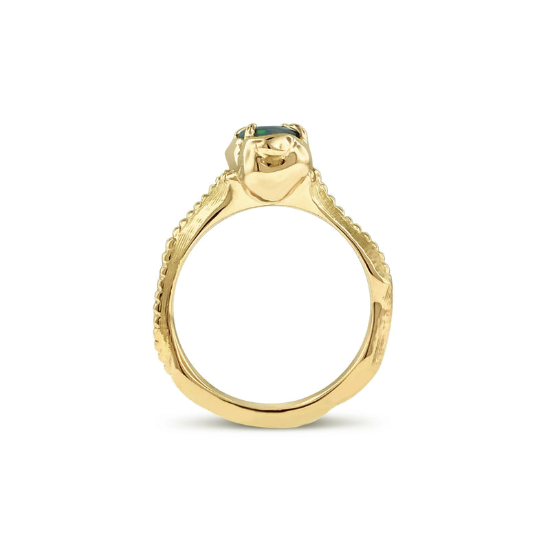 Opal serpentine ring in 18k yellow gold