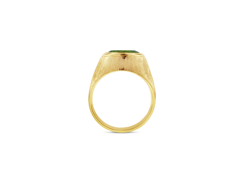 peridot yellow gold pinky ring