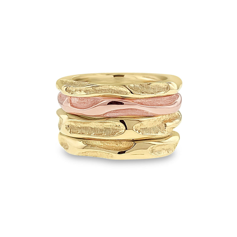 Wedding ring stack in 18k mixed metal