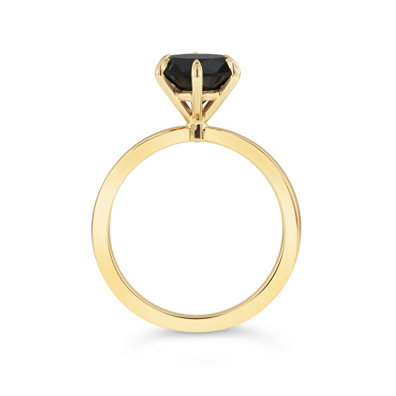 Black diamond ring in 18k yellow gold