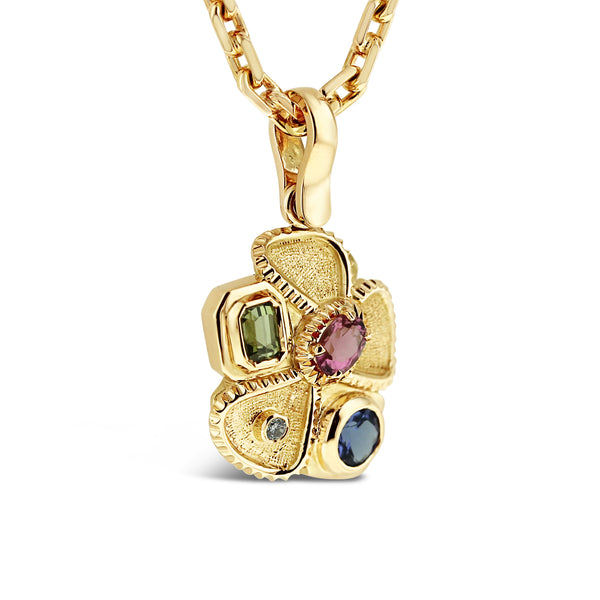Mixed stone pendant in 18k yellow gold