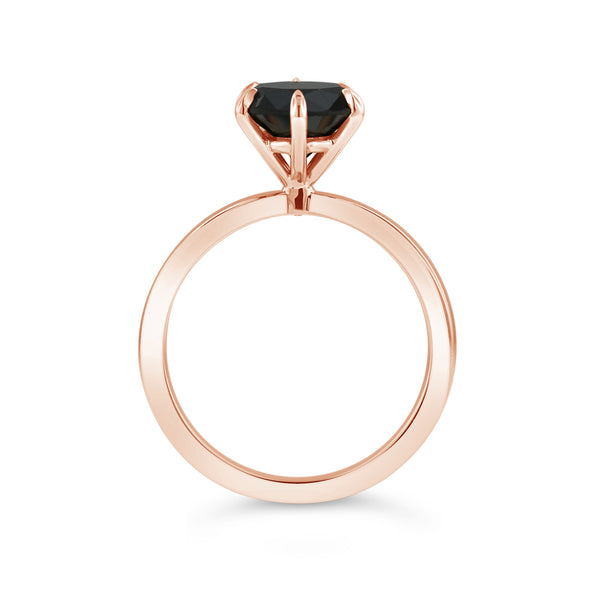 Black diamond ring in 18k rose gold