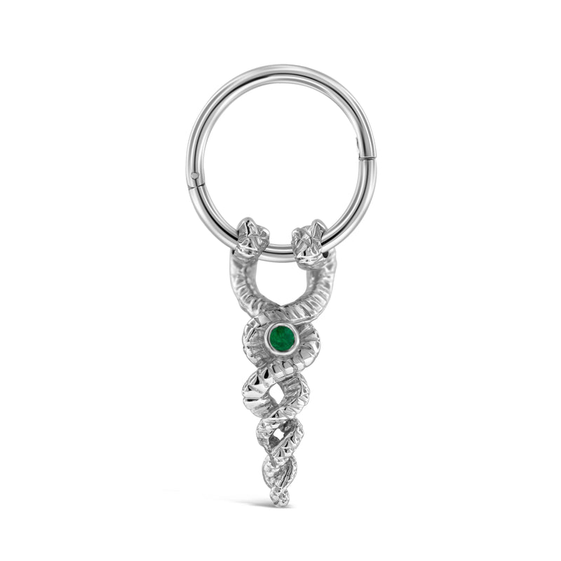 Snake earring with emerald in Sterling Silver or 9ct white gold