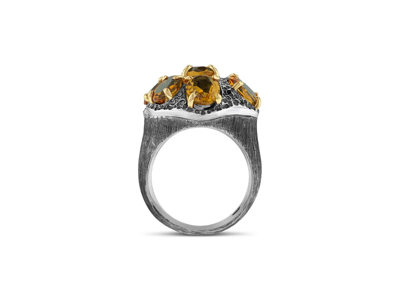 Citrine ring in Sterling silver and 9ct yellow gold