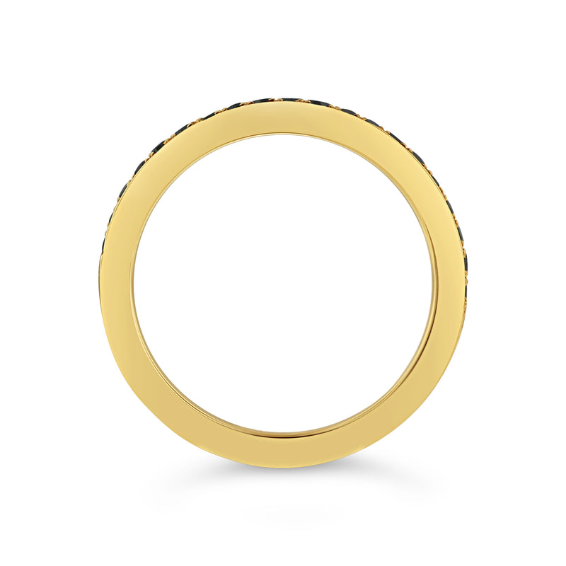 Pavé black diamond half band in 18k yellow gold