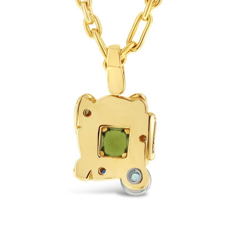 Sapphire and mixed stone pendant in 18k yellow gold
