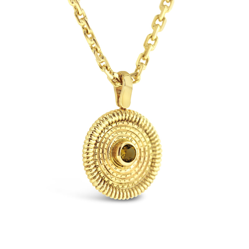 round citrine yellow gold pendant on handmade yellow gold chain