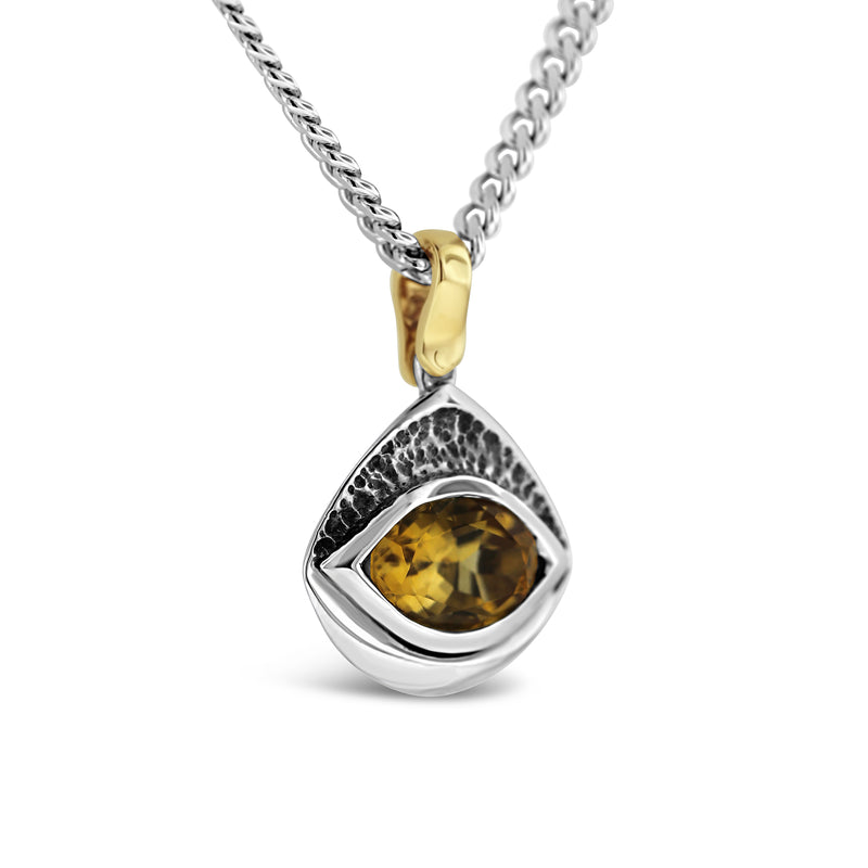 W Taranto jewellers oval citrine gemstone sterling silver yellow gold pendant necklace mens jewellery Sydney jeweller