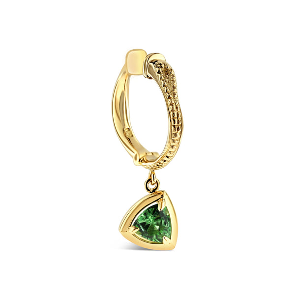 Mint Tsavorite garnet earring in 18k yellow gold