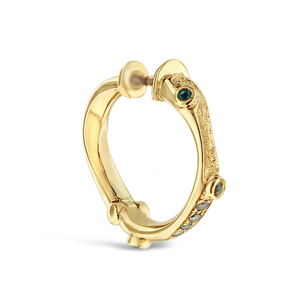 Tourmaline and diamond earring in 9ct yellow gold