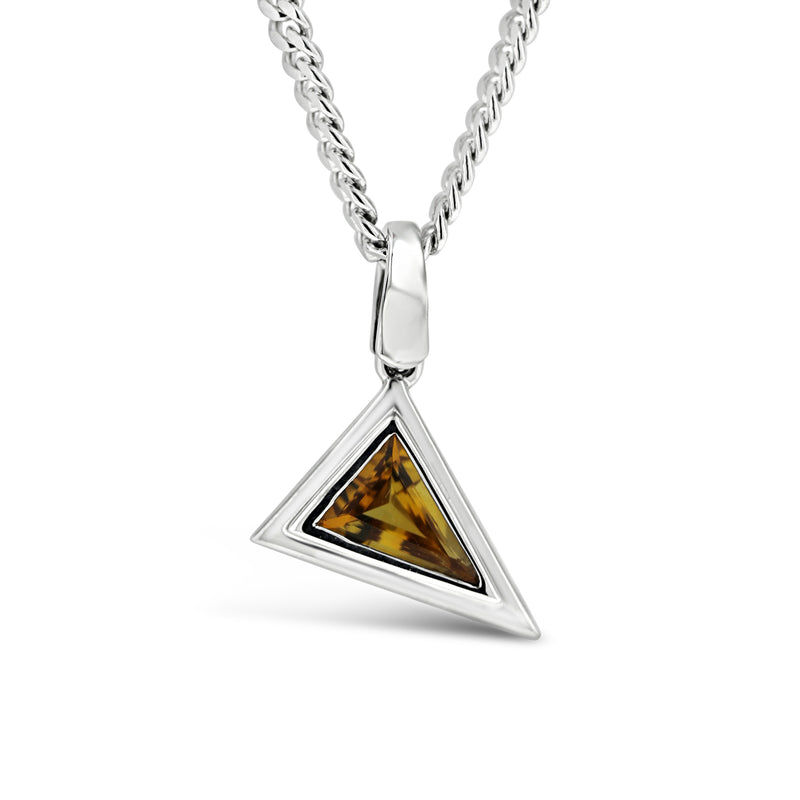 W Taranto jewellers triangle citrine gemstone sterling silver pendant necklace mens jewellery Sydney jeweller jewelry