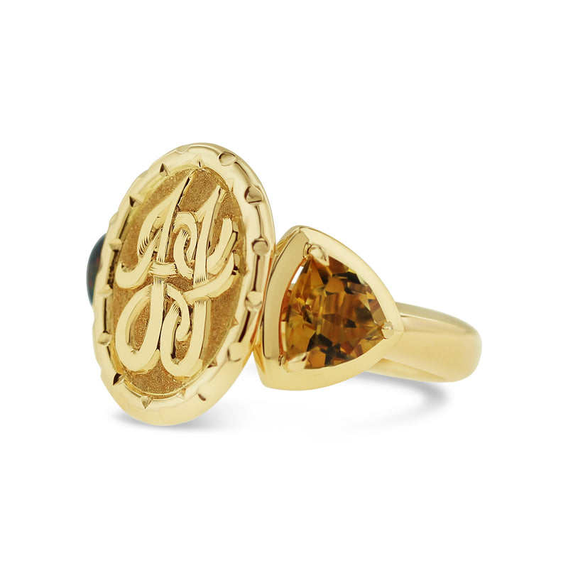 opal and citrine engraved signet ring in 18k yellow gold