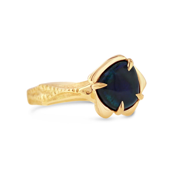 Black opal ring in 18k yellow gold