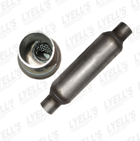 "2½"" x 12"" Resonator - 4"" Body - 409 Stainless - Lyell's Stainless Exhaust Inc., Mandrel Bending Ontario"